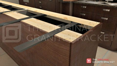 Hidden island support bracket the original granite for Supports for granite countertop overhang