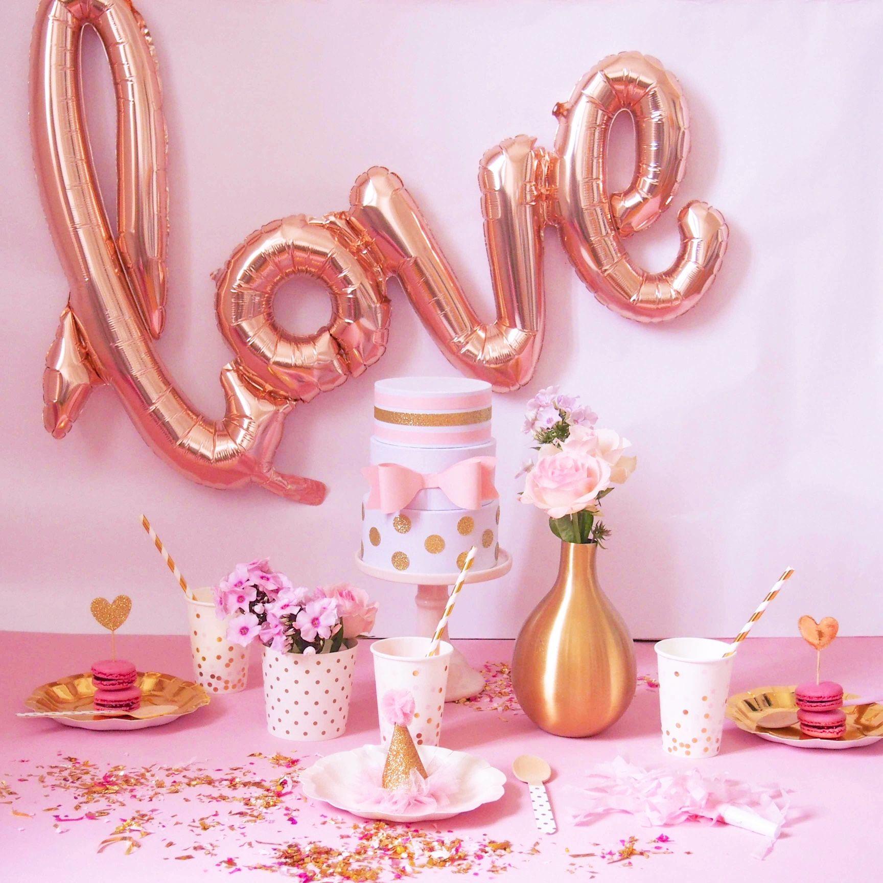 love mylar rose pastel pour déclarer sa flamme à l'occasion de la st