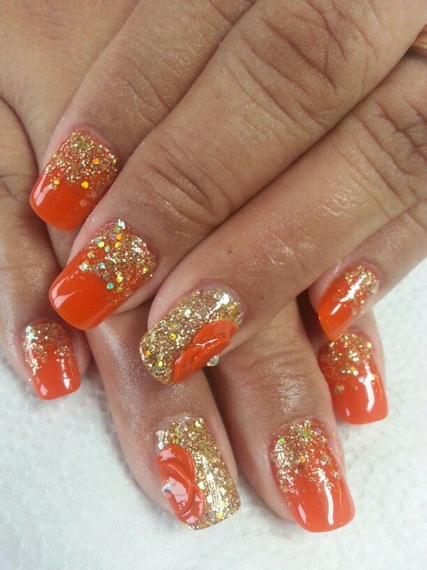 My orange nails with 3-D flower by Lucia @ Divas Nails & Spa | Nail ...