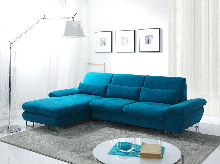 Canap d 39 angle convertible en tissu bleu azur luciano avec coffre de rangement hcommehome - Salon angle tissu ...