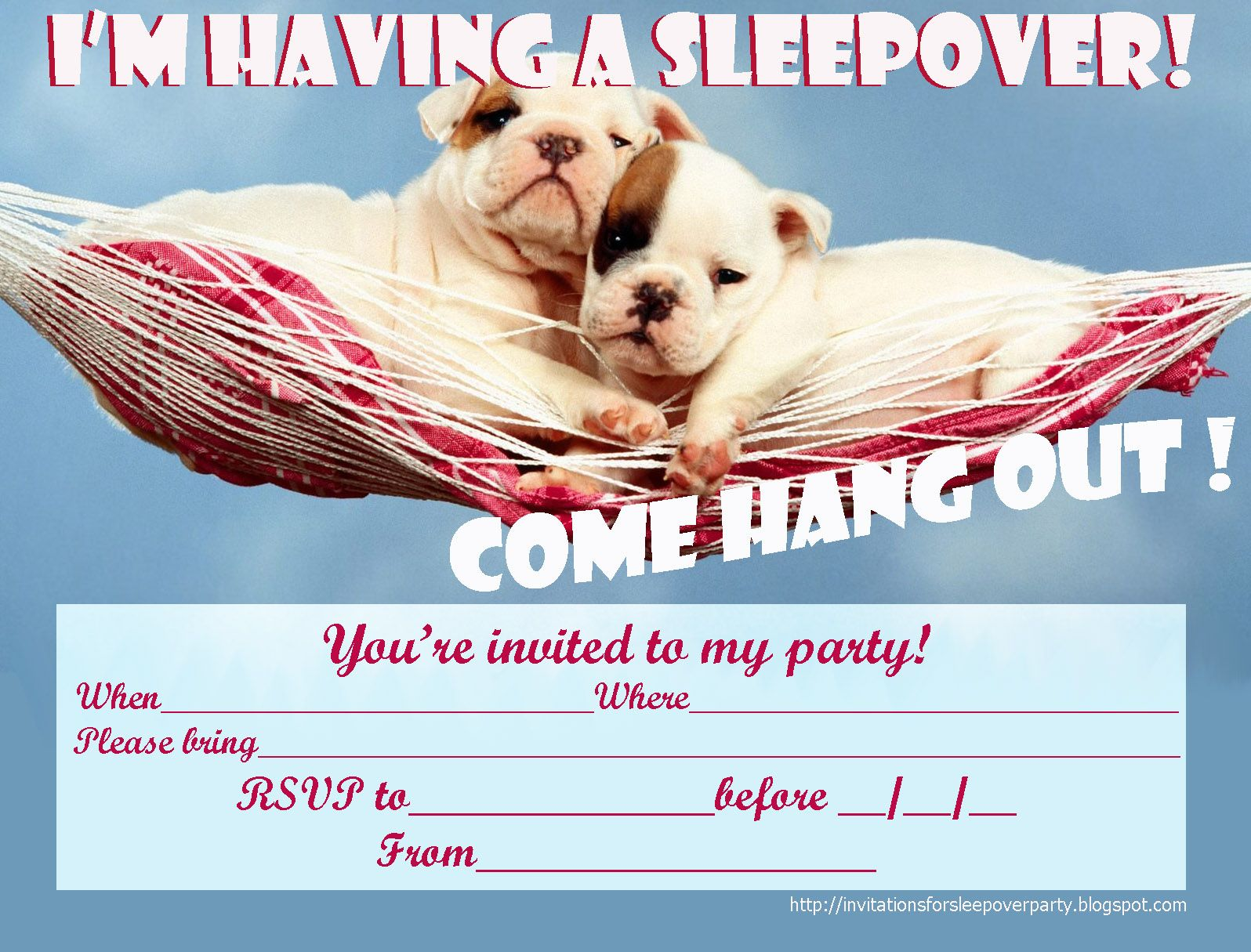 INVITATIONS FOR SLEEPOVER PARTY Im having a slumber party – Cute Slumber Party Invitations