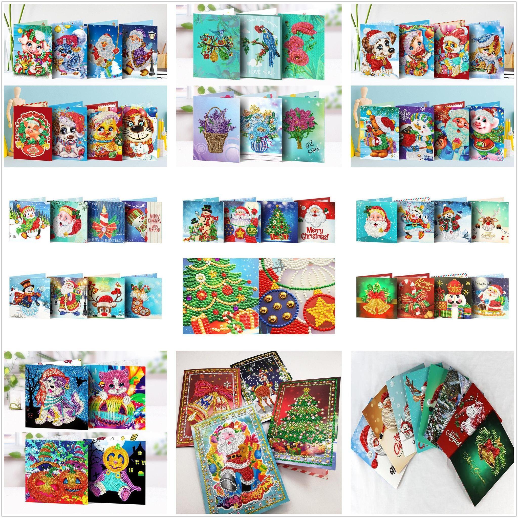 5d diy diamond painting christmas cards 4pcs cross stitch