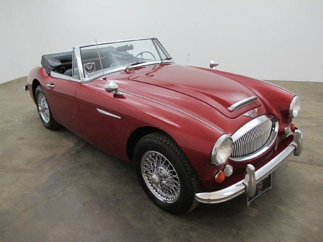 1965 austin healey bj8 3000 mark iii convertible sports car in red metallic with black interior. Black Bedroom Furniture Sets. Home Design Ideas