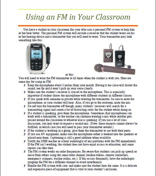 Personal Fm Tip Sheet For Teachers Therapists And