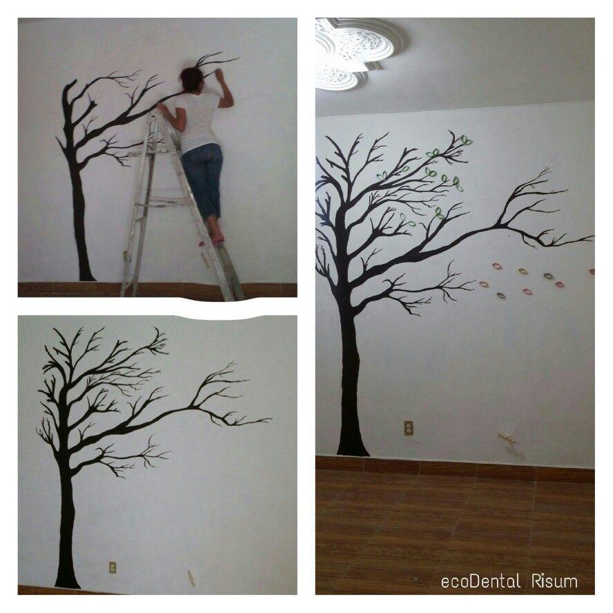 Creando un arbol en la pared 1 realiza el dibujo de tu - Paredes pintadas con dibujos ...