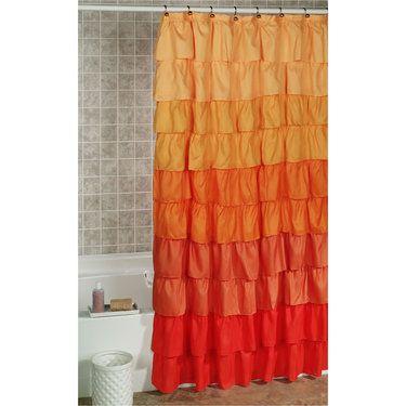 Maribella Vermillion Ombre Ruffled Shower Curtain Ruffle Shower Curtains Bathroom Curtain Set Bathroom Curtains