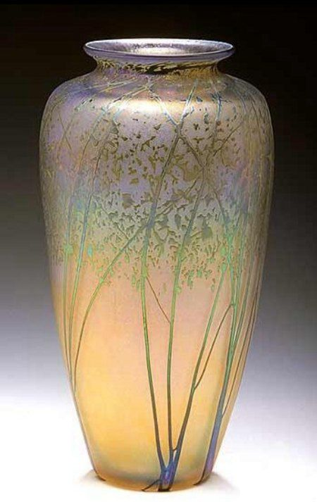 glass blown vase with etching