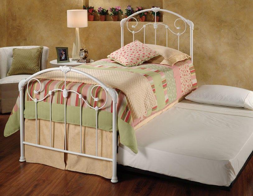 Twin Maddie Bed With Trundle Unit Link Spring Trundle Unit Required Metal Twin Bed Frame White Metal Bed White Metal Bed Frame