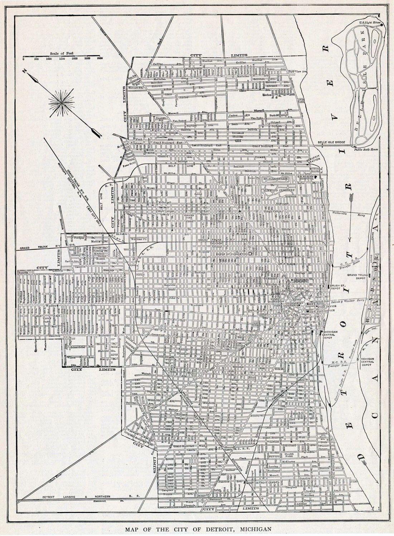 1922 Vintage Map of Detroit, Michigan - Old Street Map of Detroit ...