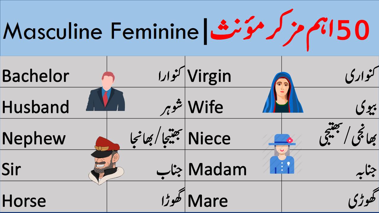 Masculine And Feminine English Vocabulary Words English Words Vocabulary Words