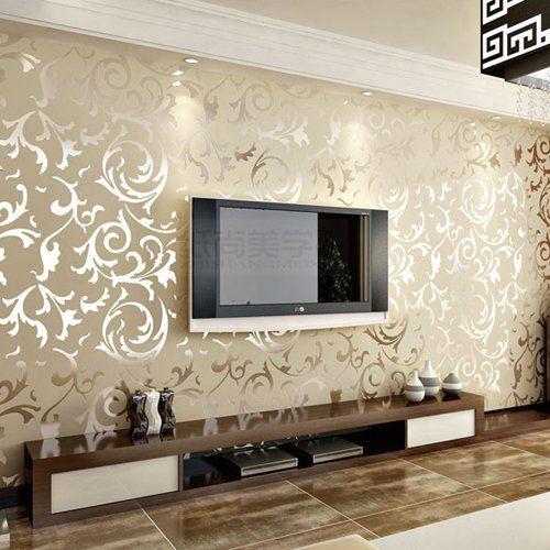 3d Wave Flocking Wallpaper Embossed Patter Surface Flocking Wallpaper Beige Color