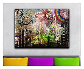 Lienzo decorativo en algodón Abstracto - 70x45