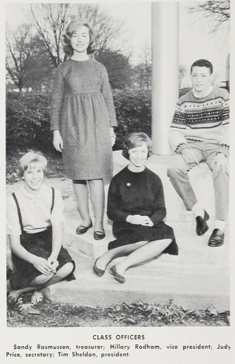 Hillary (Rodham) Clinton -- Vice-President of her Junior Class - 1964 Maine East High School yearbook, Park Ridge,Illinois.    #HillaryClinton #HillaryRodham #CelebrityYearbookPhoto #1964 #1960s #yearbook #MaineEastHighSchool #ParkRidge