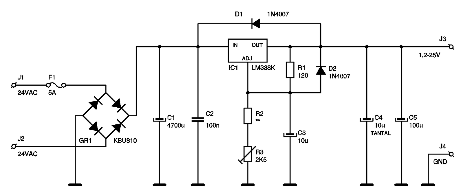 the core of the power supply circuit is lm338k  the scheme circuit 5a power supply with