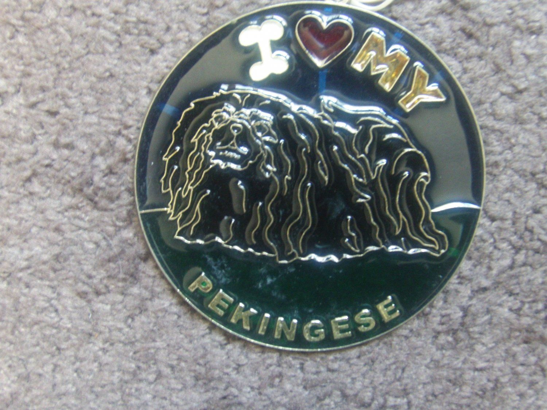 Vtg+80s+Suncatcher+sun+catcher+stained+glass+I+Love+my+PEKINGESE+black+dog+Heart