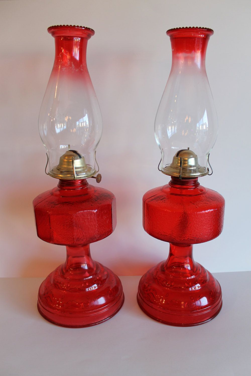 Pair of Early American Oil Lamp Homesteader Flash Ruby Red ...