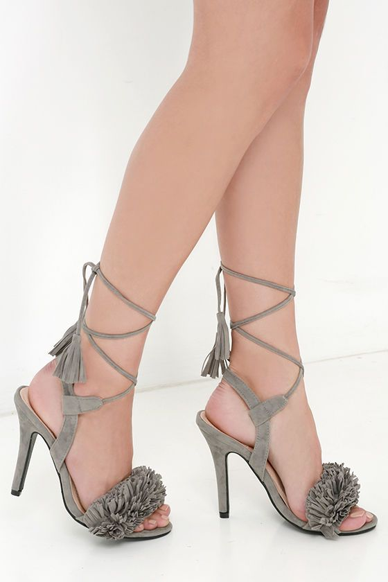 9aab3d606b26 7 1 2 Flirty with the Fringe on Top Grey Tassel and Fringe Heels at Lulus .com!