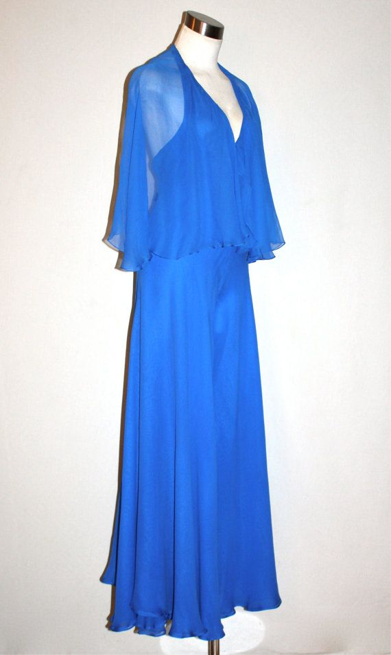 Hey, I found this really awesome Etsy listing at https://www.etsy.com/listing/157508751/vintage-halston-gown-blue-silk-chiffon