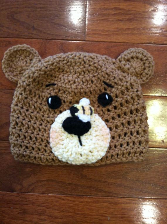 Bear with Bumble Bee Crochet Beanie Skullcap Hat-cute photo prop on ...