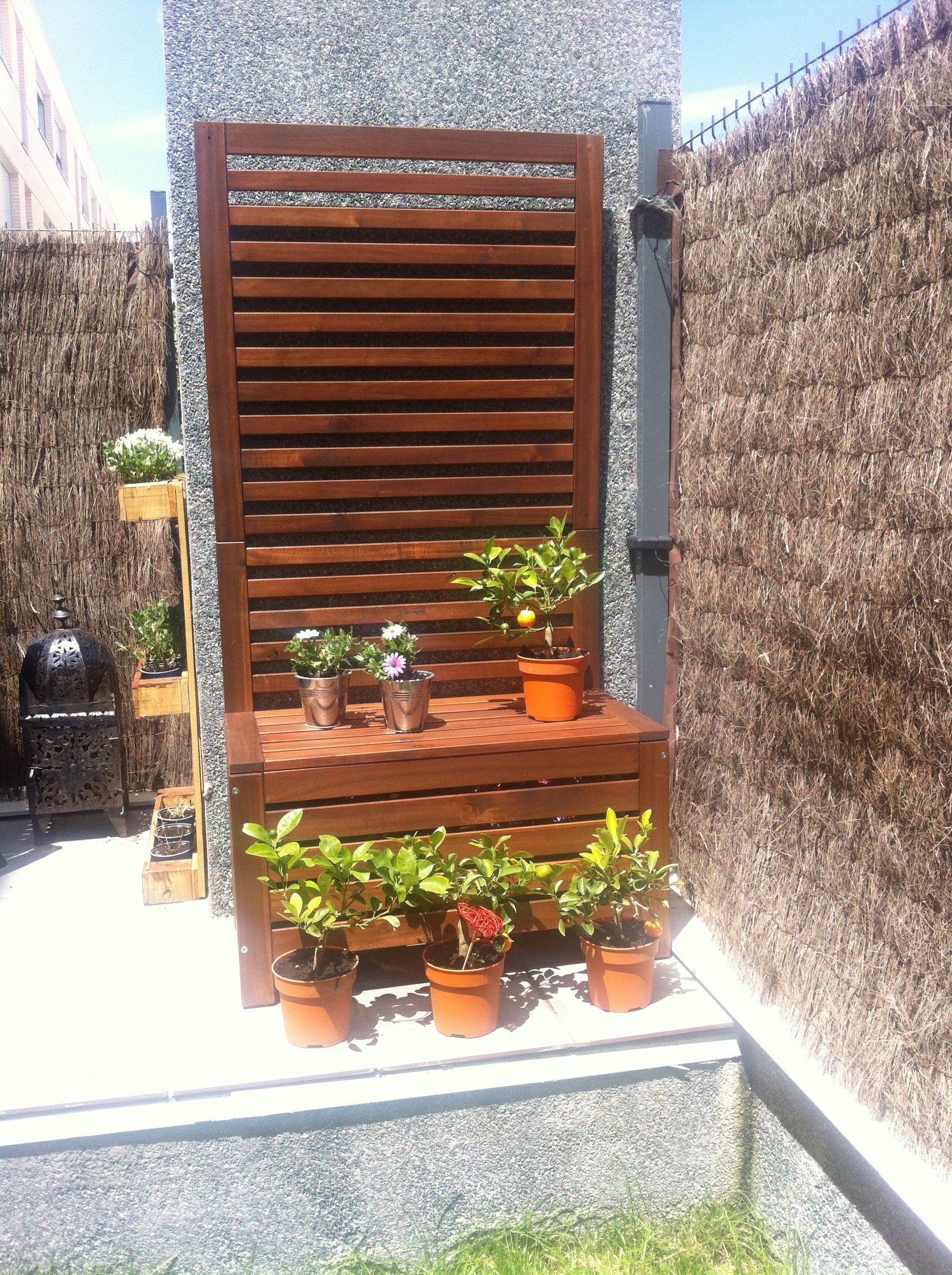 Plantas celos a banco jardinera pared de madera - Jardineras para jardin ...