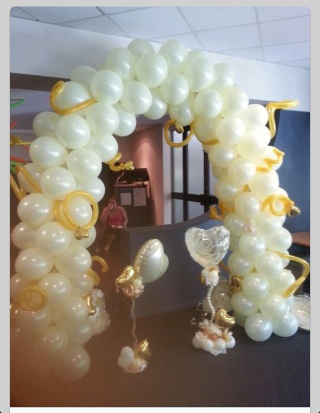 Awesome wedding balloons arch pinterest wedding balloon arch wedding elegance showed with centerpieces and buffet piece junglespirit Images