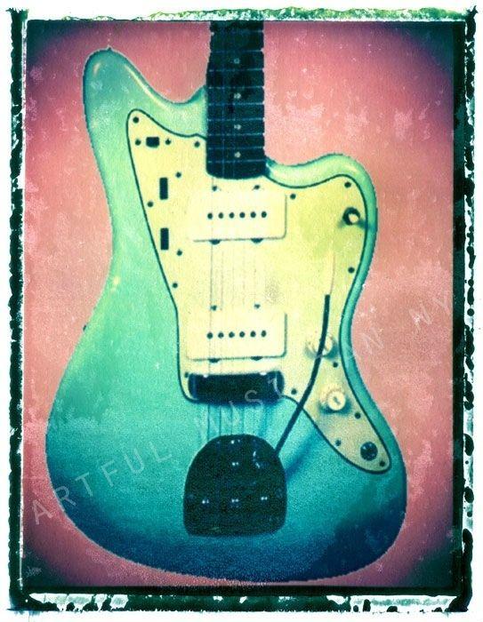 Guitar print musician gift 11x14 fender jazzmaster jaguar blue guitar art