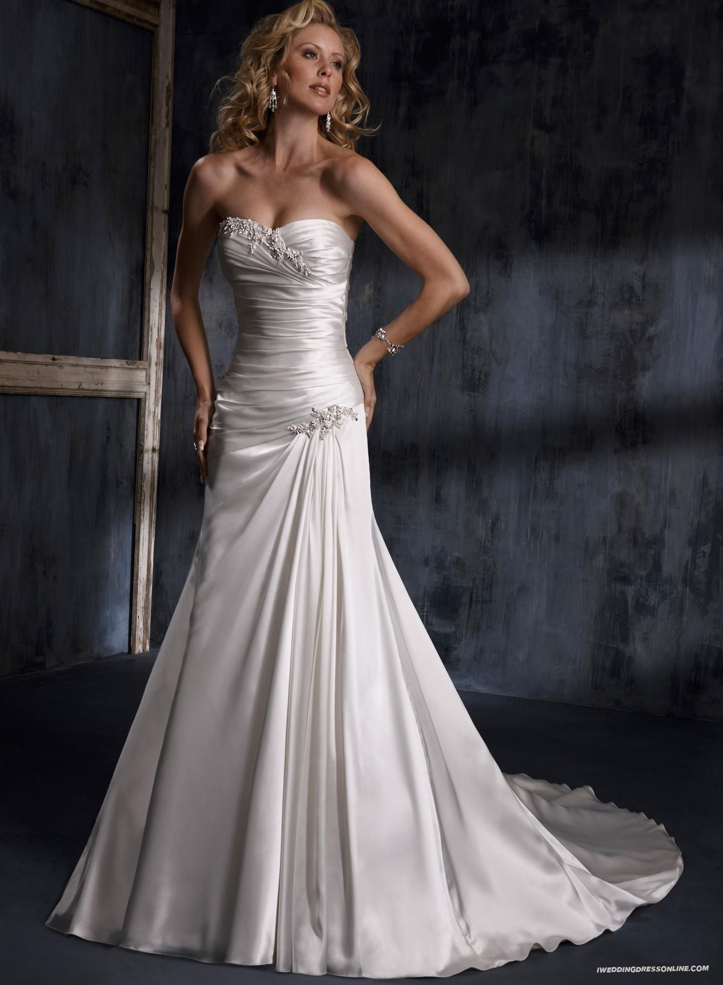 Suitable Demir Stretch Satin Crystals Adorn The Strapless Sweetheart Slim A Line Wedding Dress In