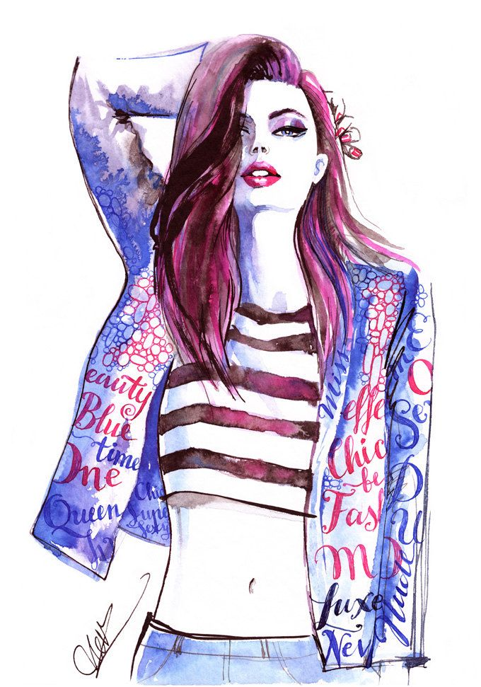 original watercolor painting inspired by hanna verhees  fashion illustration  woman art  trendy