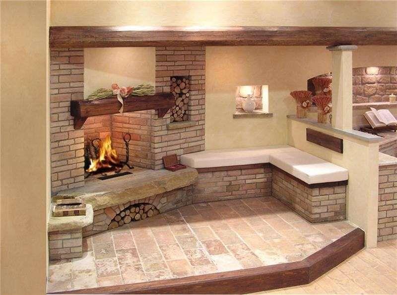 Casali e rustici di stile kamini u kuhinji pinterest - Casa americana in legno ...