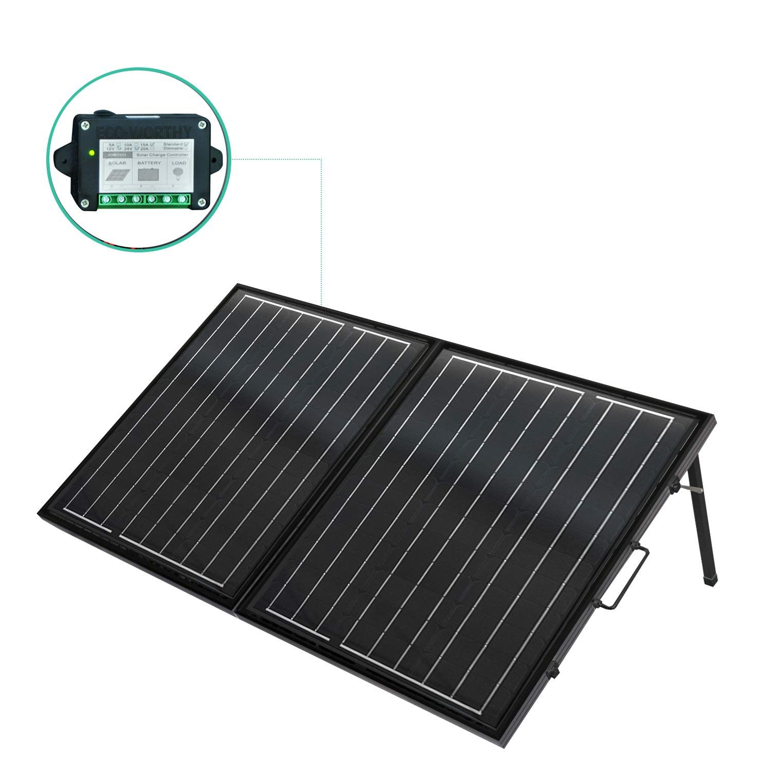 Eco Worthy 120 Watt 12volt Off Grid Monocrystalline Portable Foldable Solar Panel Suitcase With Charge Controller Solar Panels Solar Solar Panel Installation