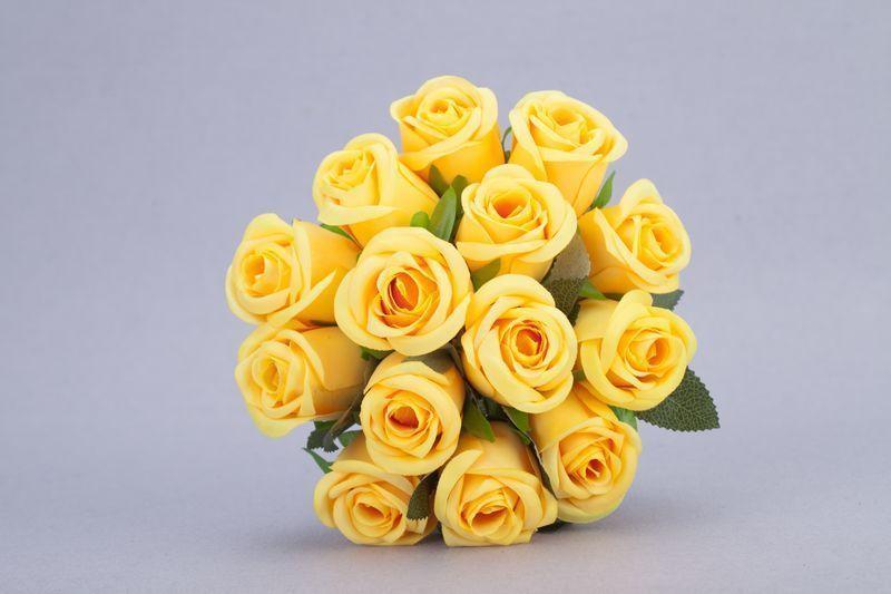 14pcs/1Bunch Yellow ROSE POSY WEDDING BRIDAL BOUQUET STEM