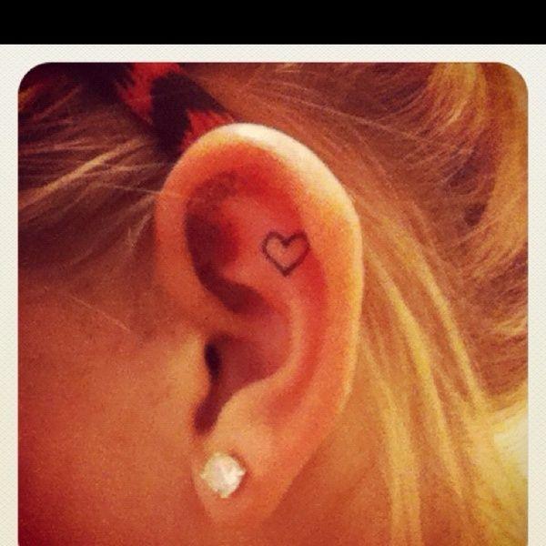 Heart Ear Tattoo