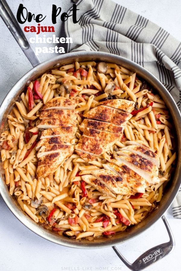 One Pot Cajun Chicken Pasta #tomatocreamsauces One Pot Cajun Chicken Pasta: A crazy delicious 30 minute one pot pasta recipe filled with spicy cajun chicken and a spicy tomato cream sauce. #onepotpasta #cajunchickenpasta #skilletmeal #onepotmeal #creamypasta #tomatocreamsauces
