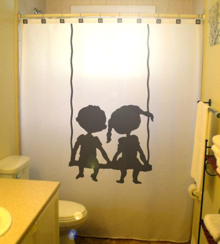 Captivating Brother Sister Children Kids Shower Curtain Shared Bathroom Decor Swing Boy  Girl Bath Child Friends Siblings Family Waterproof Polyester