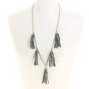 double coupon design de qualité les ventes chaudes Collier fantaisie métal et tissu gris - Bijou fashion indien ...