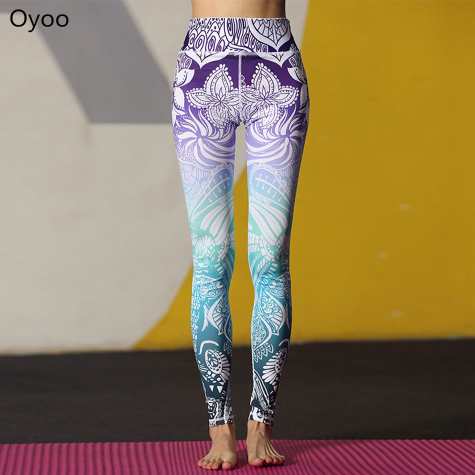 Oyoo Stunning Beautiful Yoga Pants High Waist Floral Printed Leggings Purple Blue Ombre Women's Tracksuit Running Fitness Pants – myGlobeNet