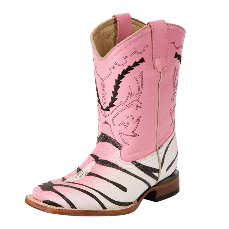 1f729b2257a Ferrini Kid's Pink Tiger Stingray Print- Pink Top Cowgirl Boots ...