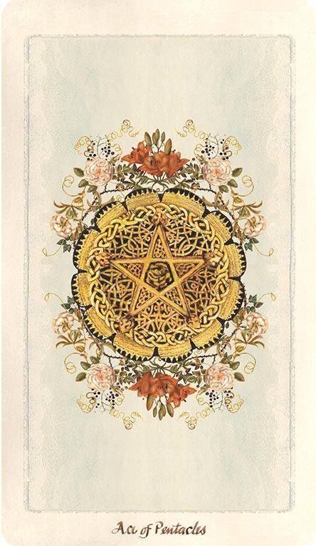 Pagan Otherworlds Tarot, Ace of Pentacles. Currently available for pre-order on the Uusi website.