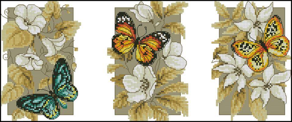 Бабочки и цветы (триптих) вышивка крестом | Вышивка ...