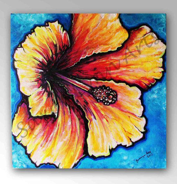 Hibiscus Flower Original Painting Surf Art 12x12 Flower Art Beach Decor Tropical Hawaiian Art Na Flower Prints Art Flower Art Hawaiian Wall Art