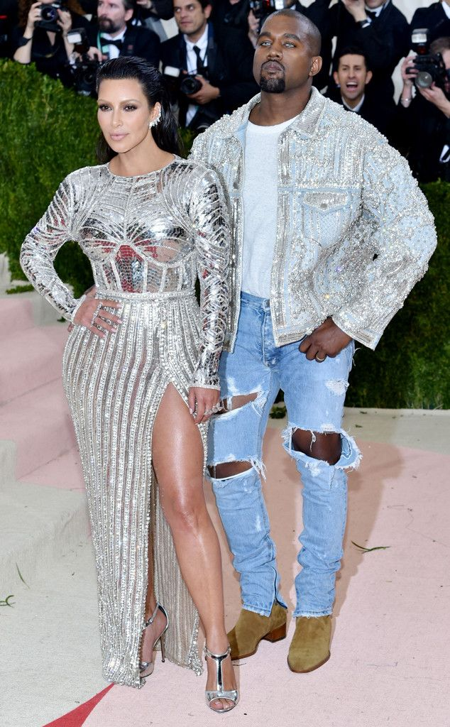 Exclusive Kim Kanye Stun At Met Gala And North Wants Mom S Dress Kim K Dresses Kanye West And Kim Kim And Kanye