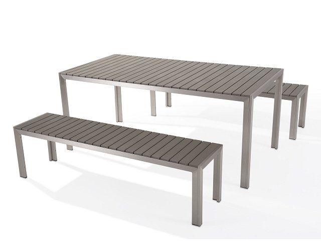 Gartenmöbel Set Kunstholz grau 8-Sitzer NARDO   LIVING.RÄUME   Pinterest