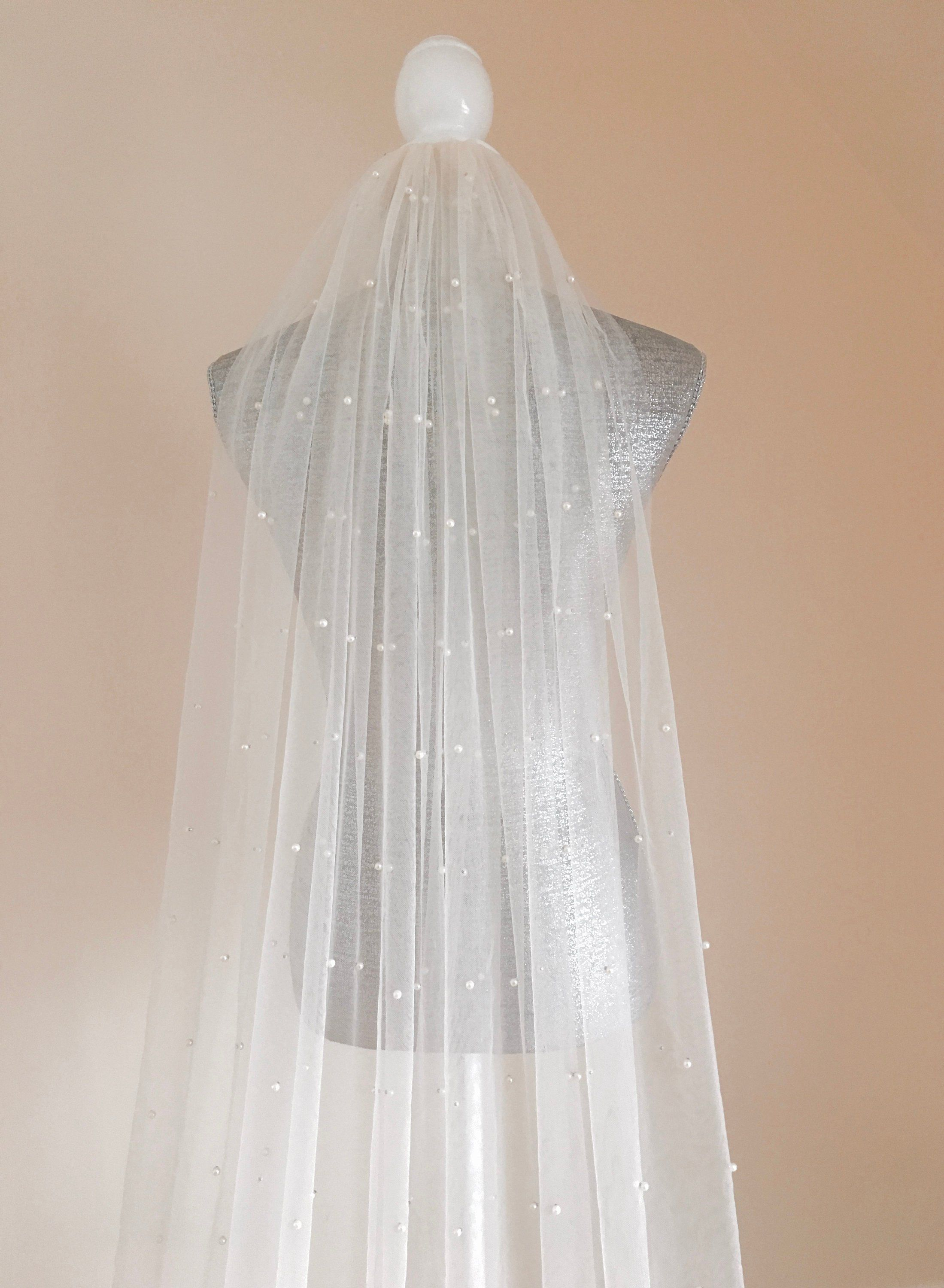Pearl Soft Veil Chapel Veil Cathedral Veil Fingertip Etsy Pearl Veil Long Veil Wedding Cathedral Veil