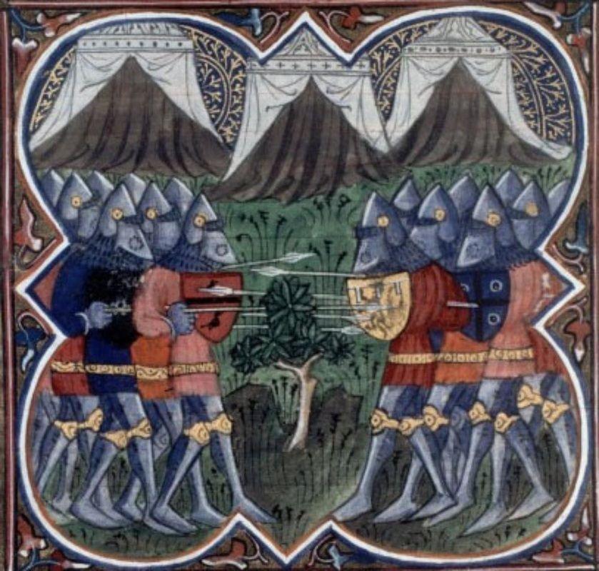 14th century / medieval tent ( manuscript : BNF Français 32 Ab Urbe Condita, Folio 124, 1375-1400, France )