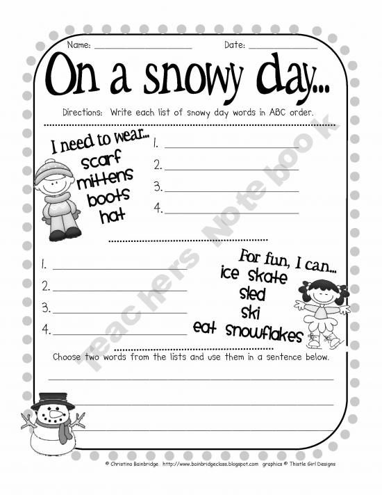 The Snowy Day Sequence ABC Order Snowy Day The Snowy Day