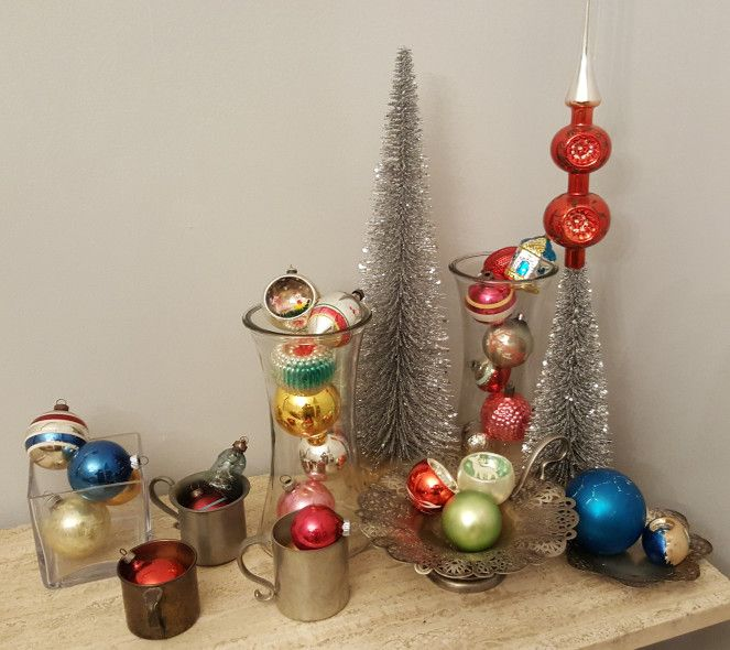Antique Christmas ornaments and silver bristle brush trees Beth\u0027s