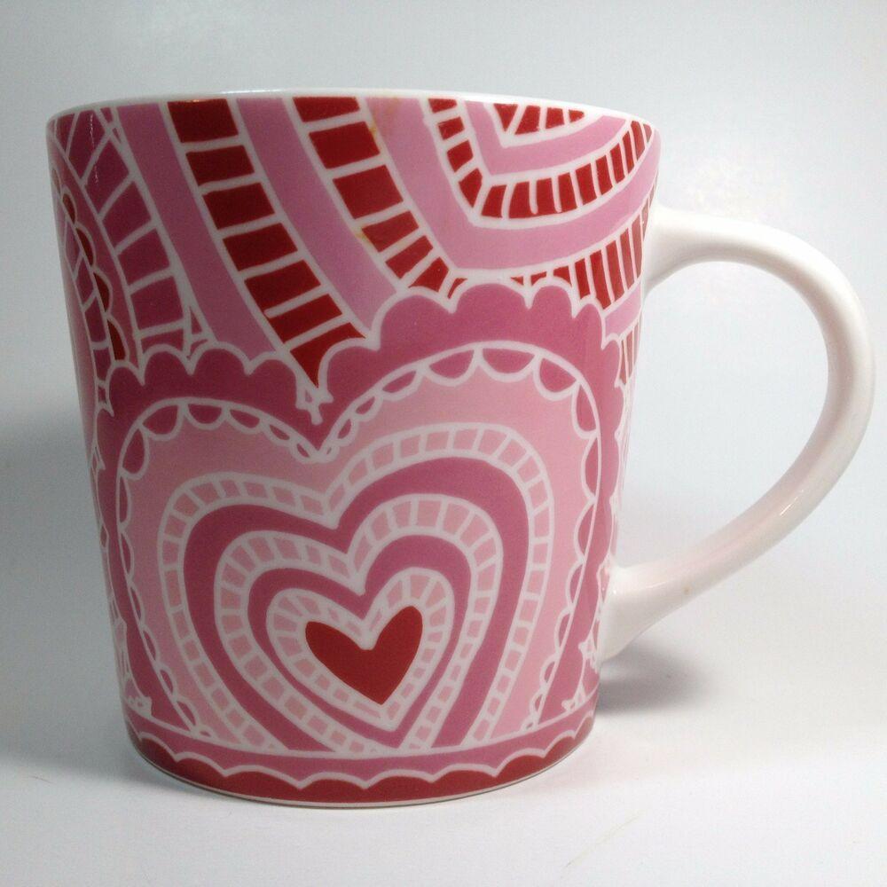 Starbucks Pink Paper Heart Mug 16 Fl Oz Love Valentine's