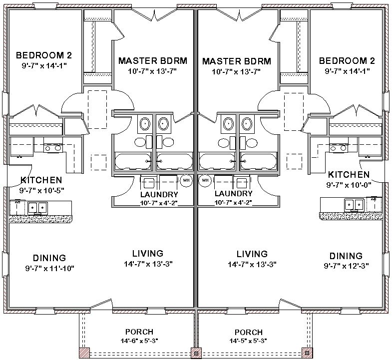 Duplex house plans full floor plan 2 bed 2 bath pool for 2 bedroom 1 5 bath house plans