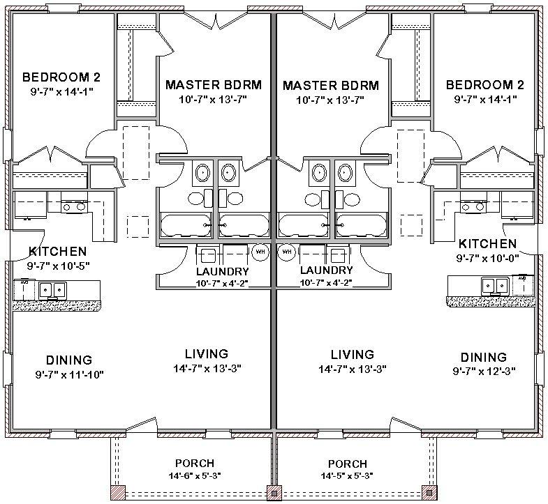 Duplex House Plans Full Floor Plan 2 bed + 2 bath in 2018 ...