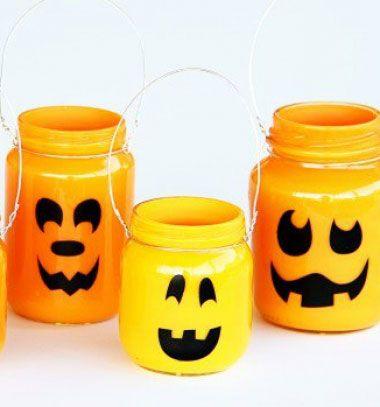 Pumpkin jars - easy Halloween decor   Töklámpások befőttes üvegből